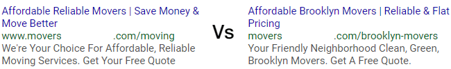 low relevance adwords ad vs high relevance adwords ad